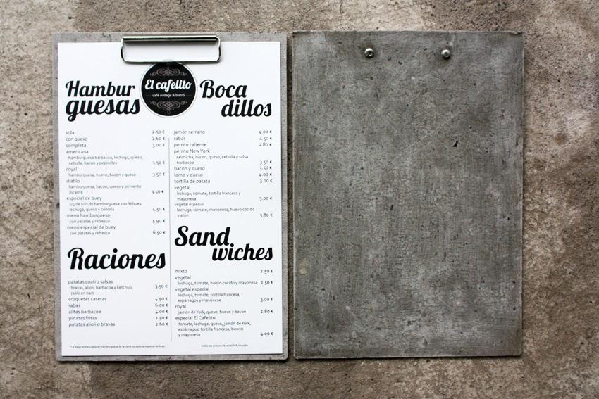 carta menu vintage